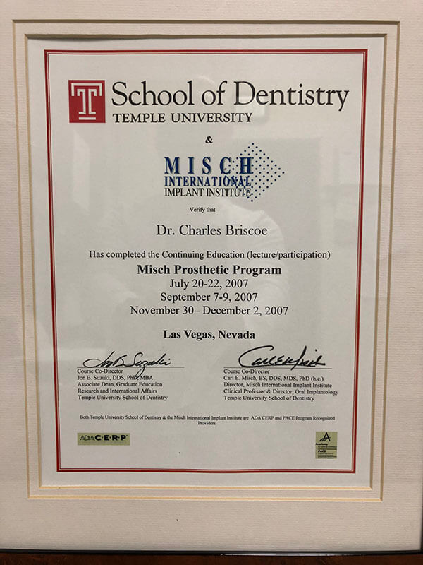 Temple University School of Dentistry - Dr. Charles Briscoe
