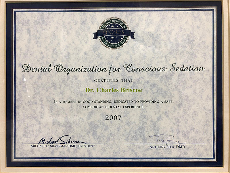 Dental Organization for Conscious Sedation award for Dr. Charles Briscoe 2007