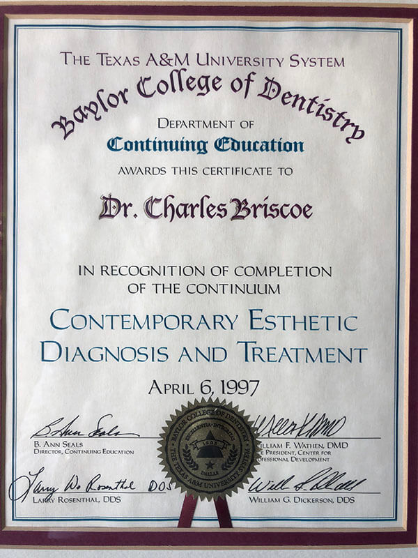 Baylor College of Dentistry award for the completion of Contemporary Esthetic Diagnosis and Treatment 1997